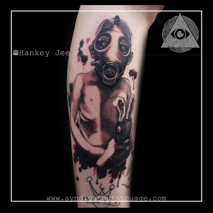 Gas Mask Kid with Bunny